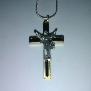 """Jewelry - Crucifix necklace long 26"""" sterling silver chain"""